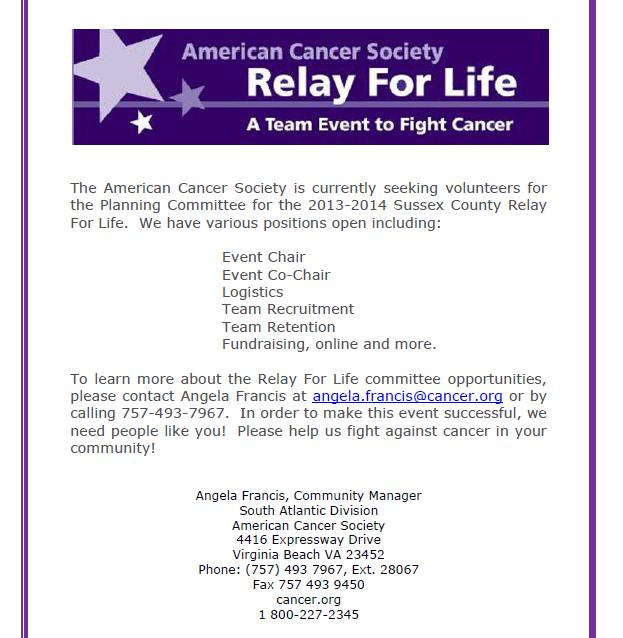 2013-14' Sussex County Relay For Life Volunteers Needed