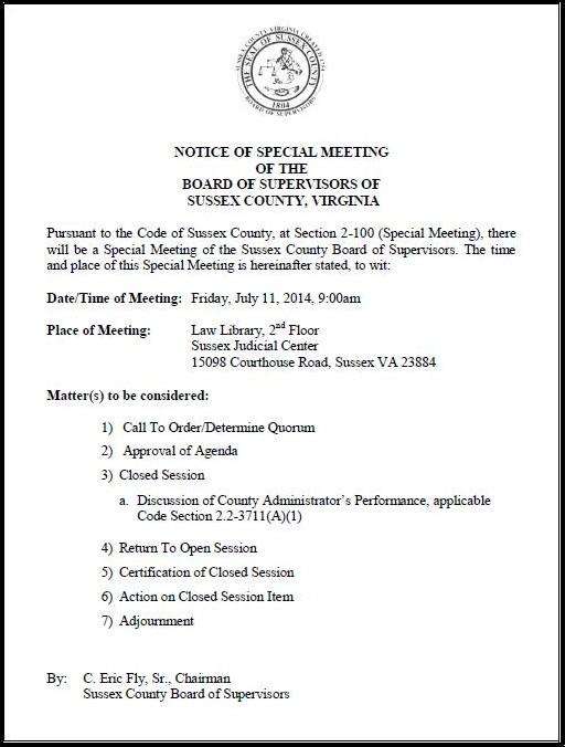 Notice of special meeting of the board of supervisors for Notice of board meeting template
