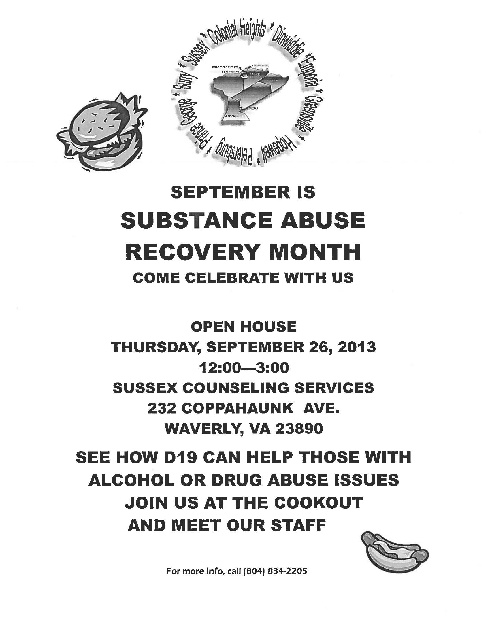 Substance Abuse Recovery - September 26th