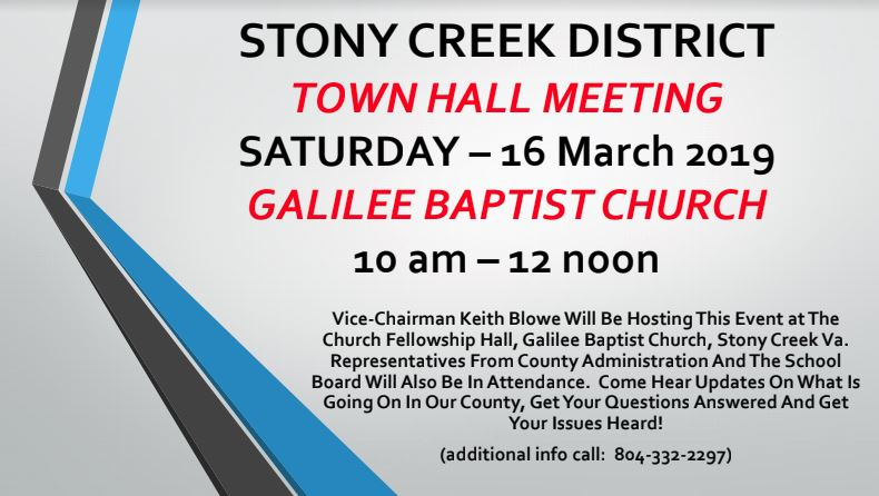 Stony Creek Town Hall Meeting Flyer
