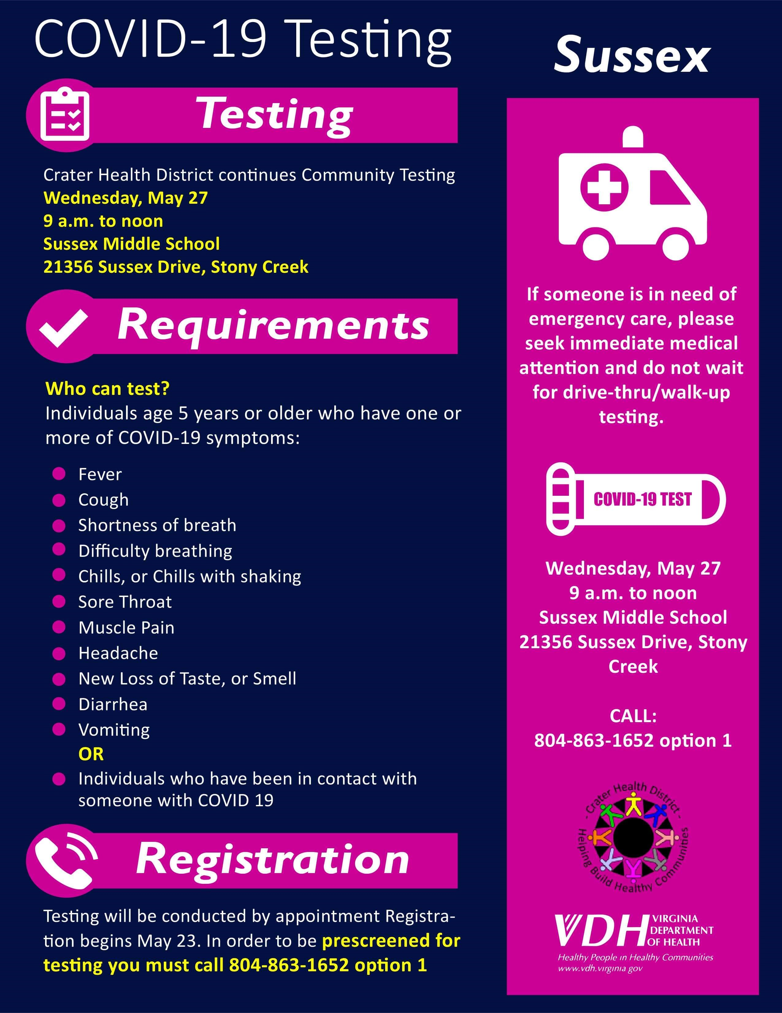 Infographic of Sussex Community Testing for COVID-19