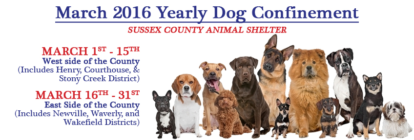 March 2016 Yearly Dog Confinement Period